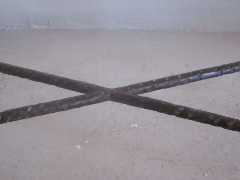 French Mid-Century Modern Style Hand-Hammered Iron Console, Manner of Giacometti For Sale 3