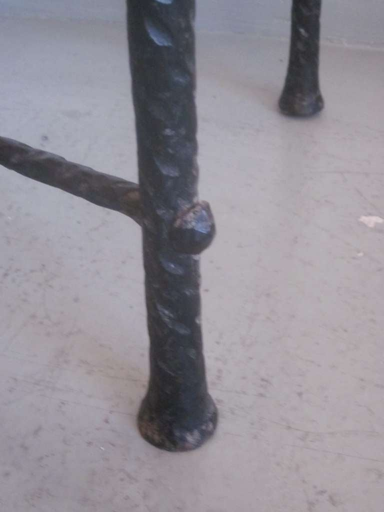 French Mid-Century Modern Style Hand-Hammered Iron Console, Manner of Giacometti For Sale 5