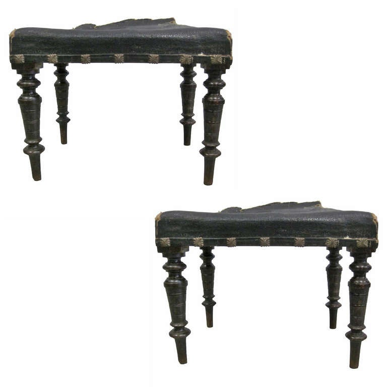 Pair of Italian Modern Neoclassical Benches or Stools 1
