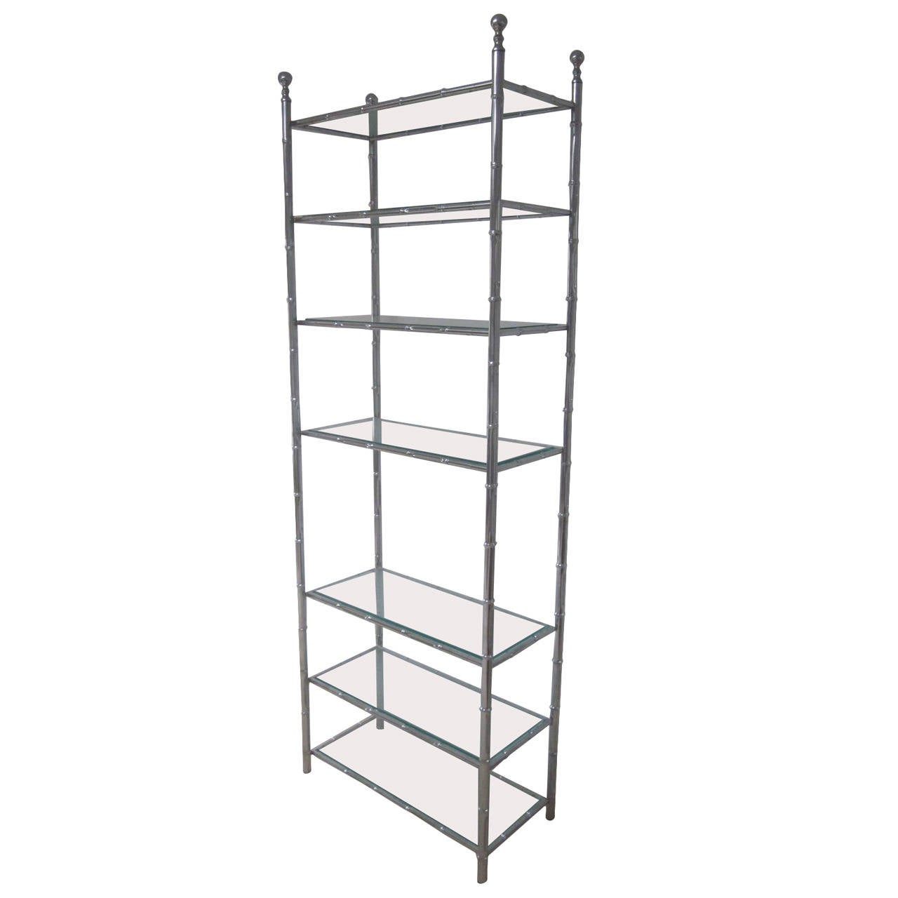 Large French Mid-Century Modern Nickel Faux Bamboo Etagere / Shelves by Baguès For Sale