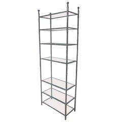 Large French Mid-Century Modern Nickel Faux Bamboo Etagere / Shelves by Baguès