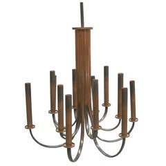 Sober French 30's Modern Neoclassical Chandelier