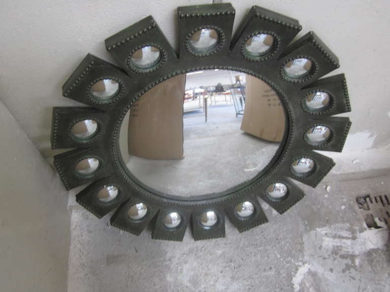 Exquisite French Mid-Century Modern 'Sunburst' Mirror in Style of Line Vautrin For Sale 1