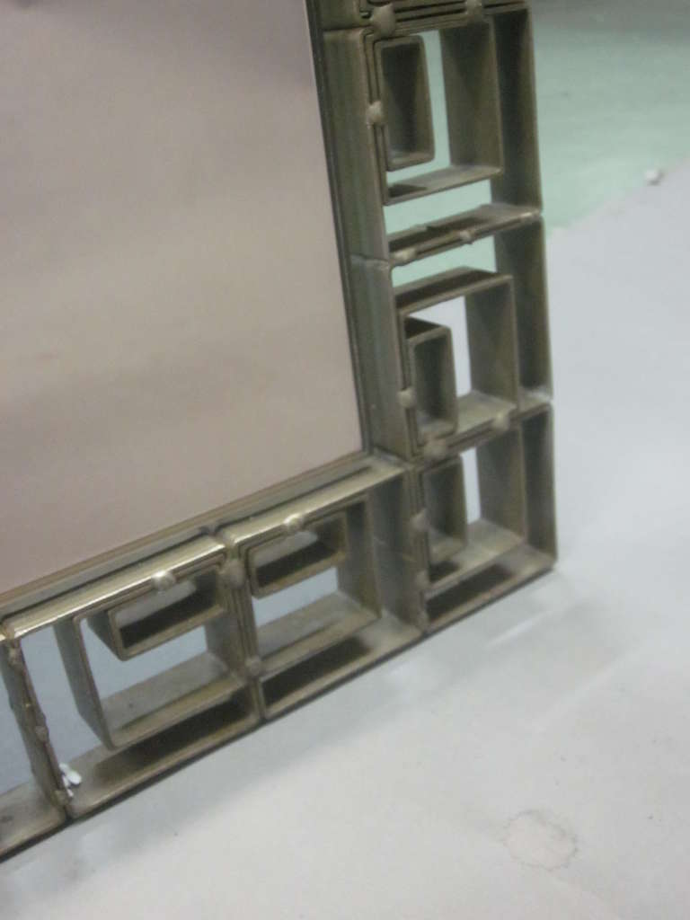 Large Italian Mid-Century Modern Neoclassical Bronze Filagree Floor/ Wall Mirror For Sale 1