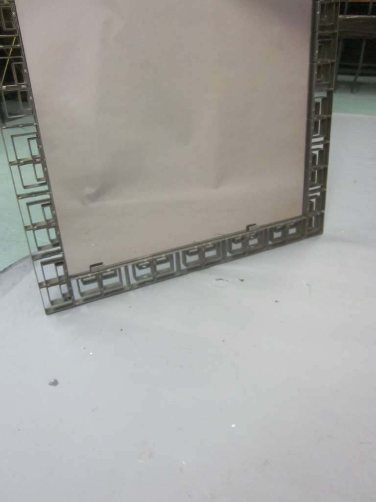 Mid-20th Century Large Italian Mid-Century Modern Neoclassical Bronze Filagree Floor/ Wall Mirror For Sale