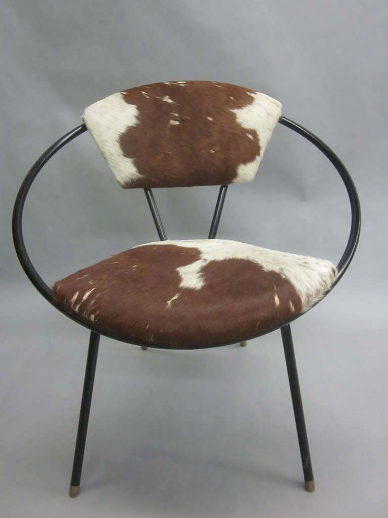 Pair of French Mid-Century Modern Cowhide Lounge Chairs, Spirit of Jean Royère 4
