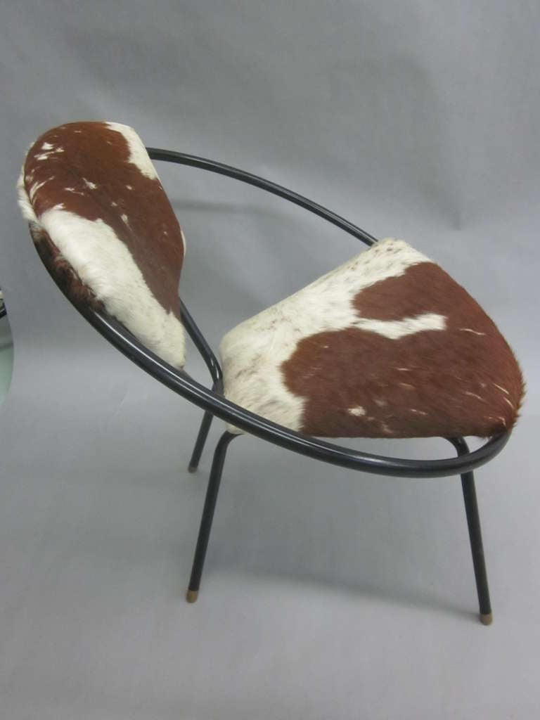 Pair of French Mid-Century Modern Cowhide Lounge Chairs, Spirit of Jean Royère 6