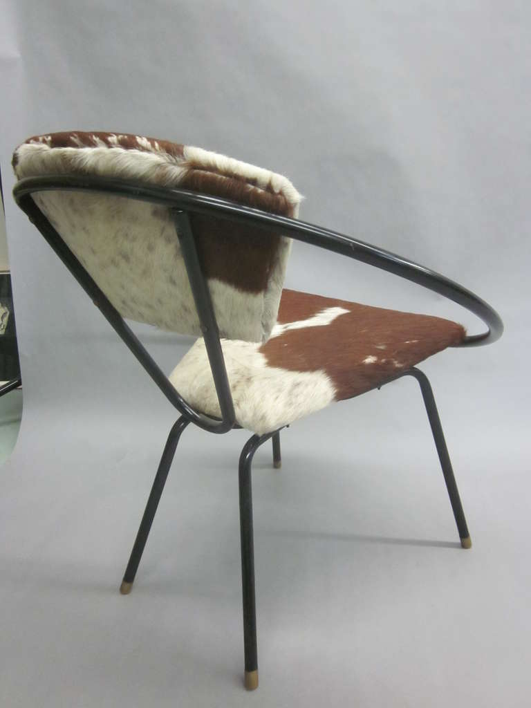 Pair of French Mid-Century Modern Cowhide Lounge Chairs, Spirit of Jean Royère 7