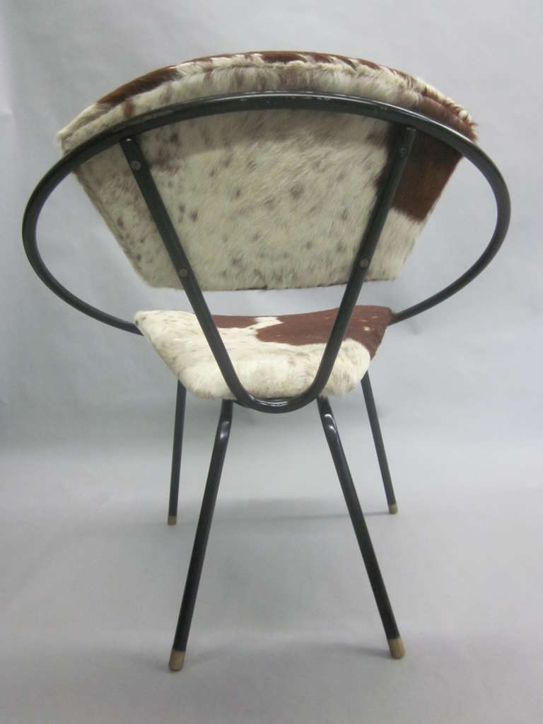 Pair of French Mid-Century Modern Cowhide Lounge Chairs, Spirit of Jean Royère 9