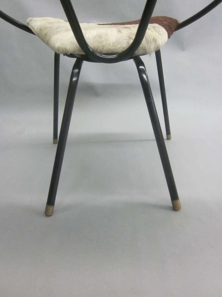 Pair of French Mid-Century Modern Cowhide Lounge Chairs, Spirit of Jean Royère 10