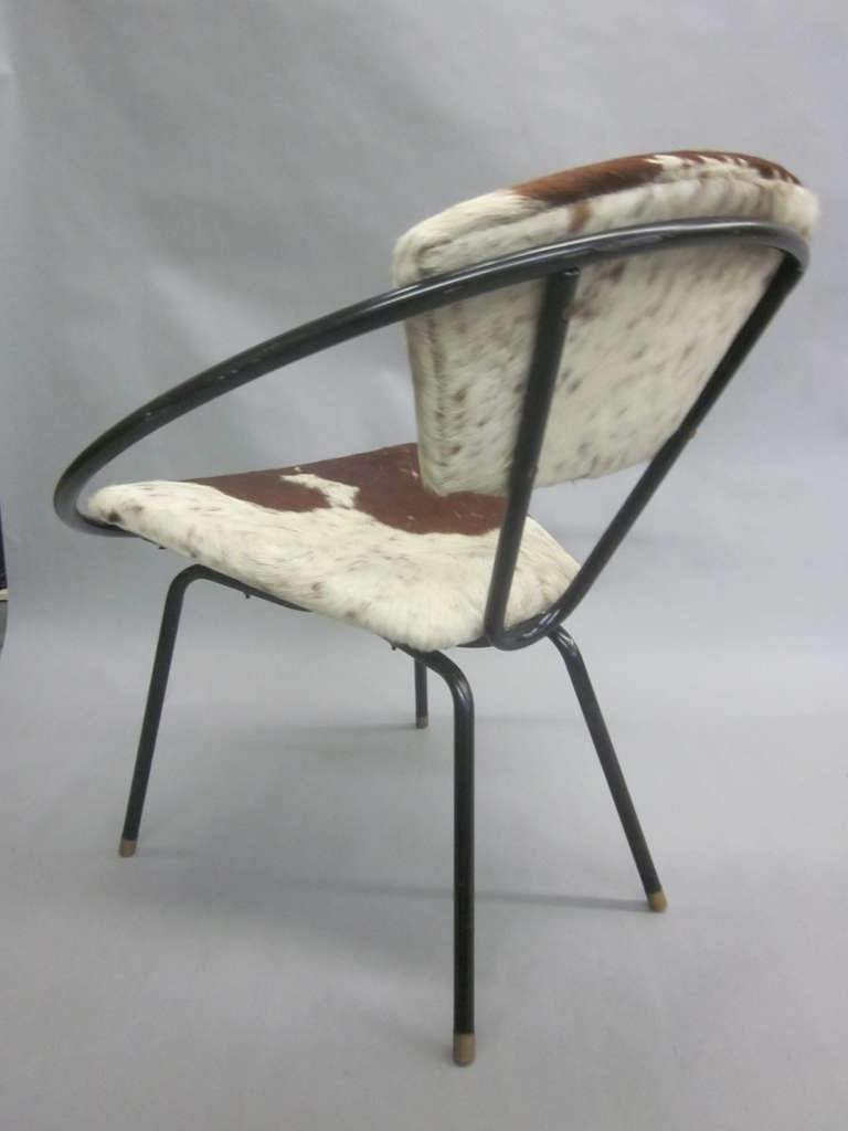 Pair of French Mid-Century Modern Cowhide Lounge Chairs, Spirit of Jean Royère 8