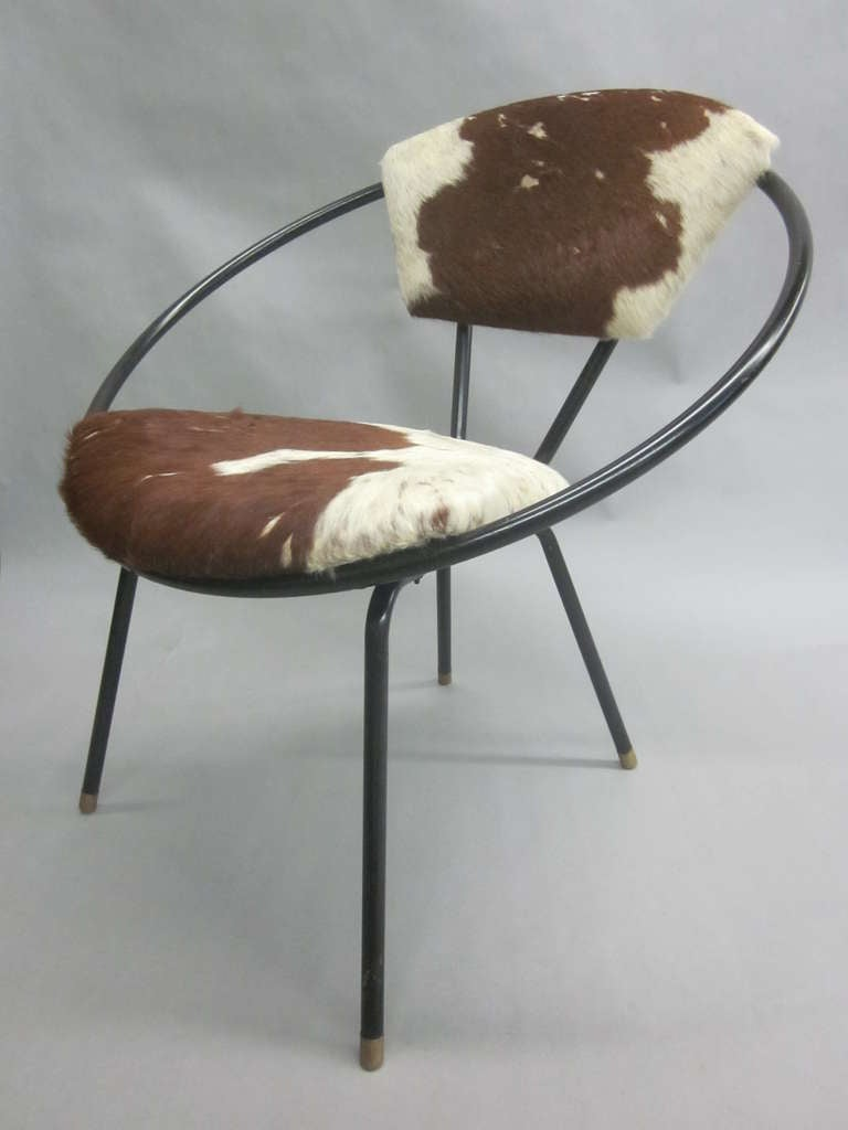 Pair of French Mid-Century Modern Cowhide Lounge Chairs, Spirit of Jean Royère 2