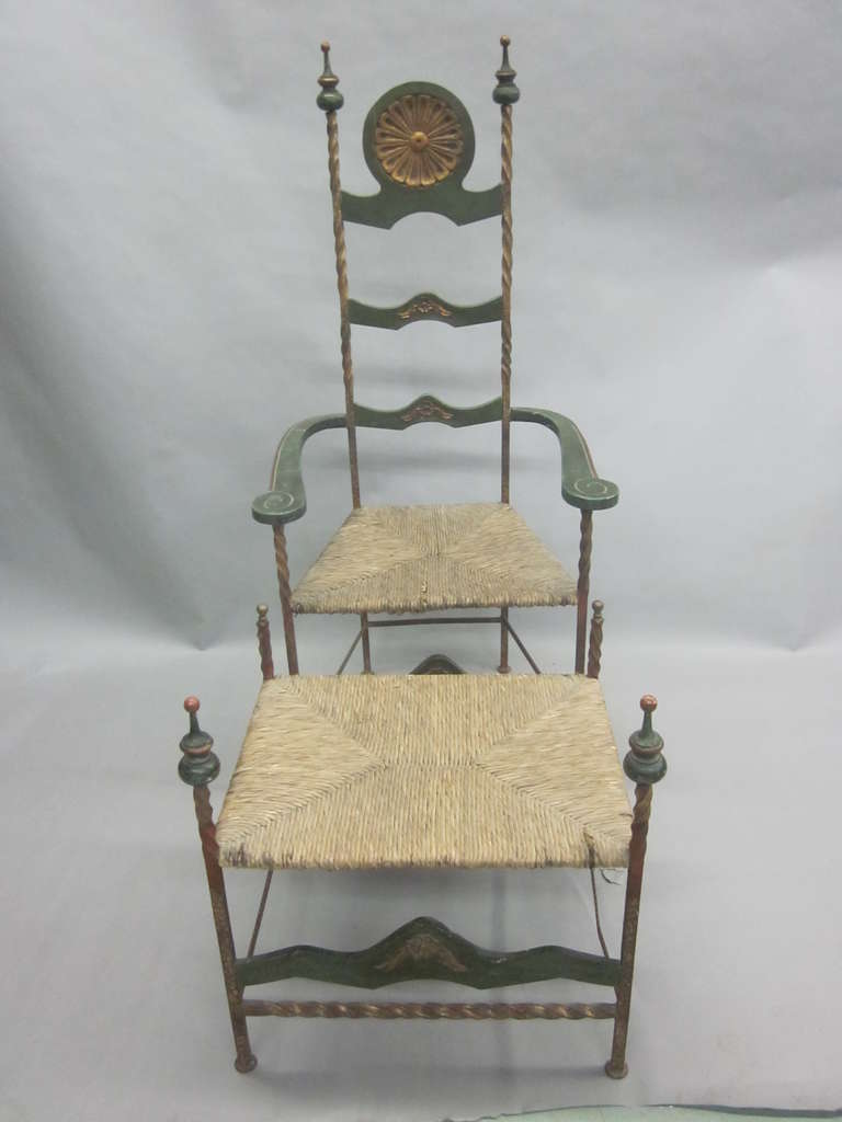 Gilt Italian Midcentury Throne Armchair or Lounge Chair with Bench or Ottoman For Sale