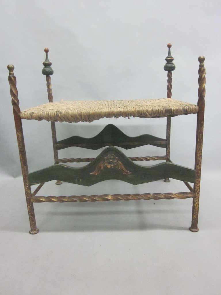 Italian Mid-Century Throne Armchair / Lounge Chair with Bench / Ottoman 8