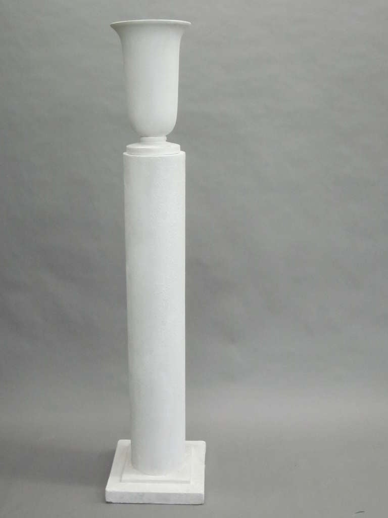 Four Rare French 1930s Plaster Columnar Floor Lamps Attributed to Louis Sue 2
