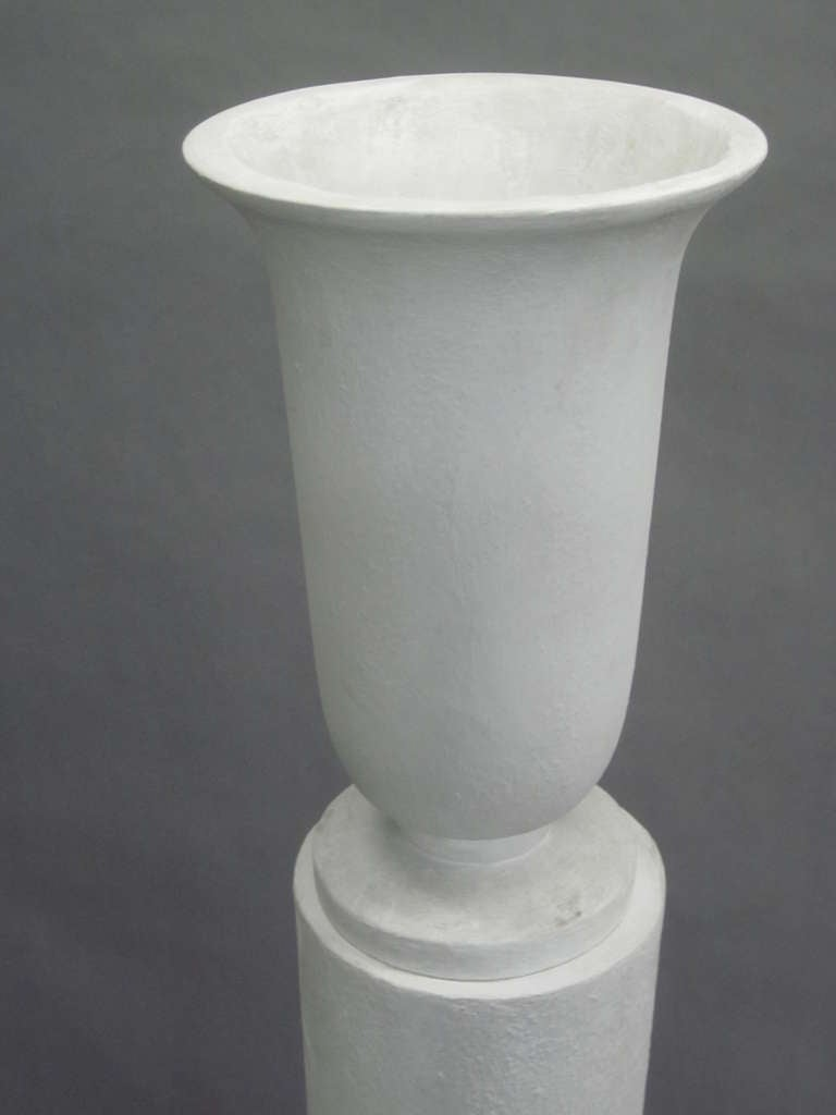 Four Rare French 1930s Plaster Columnar Floor Lamps Attributed to Louis Sue 7