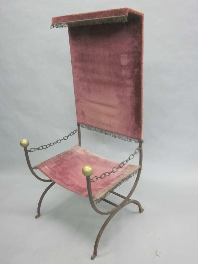 Mid-20th Century French Mid-Century Modern Iron Throne/ Lounge Chair, Style of Jean Royère, 1950 For Sale