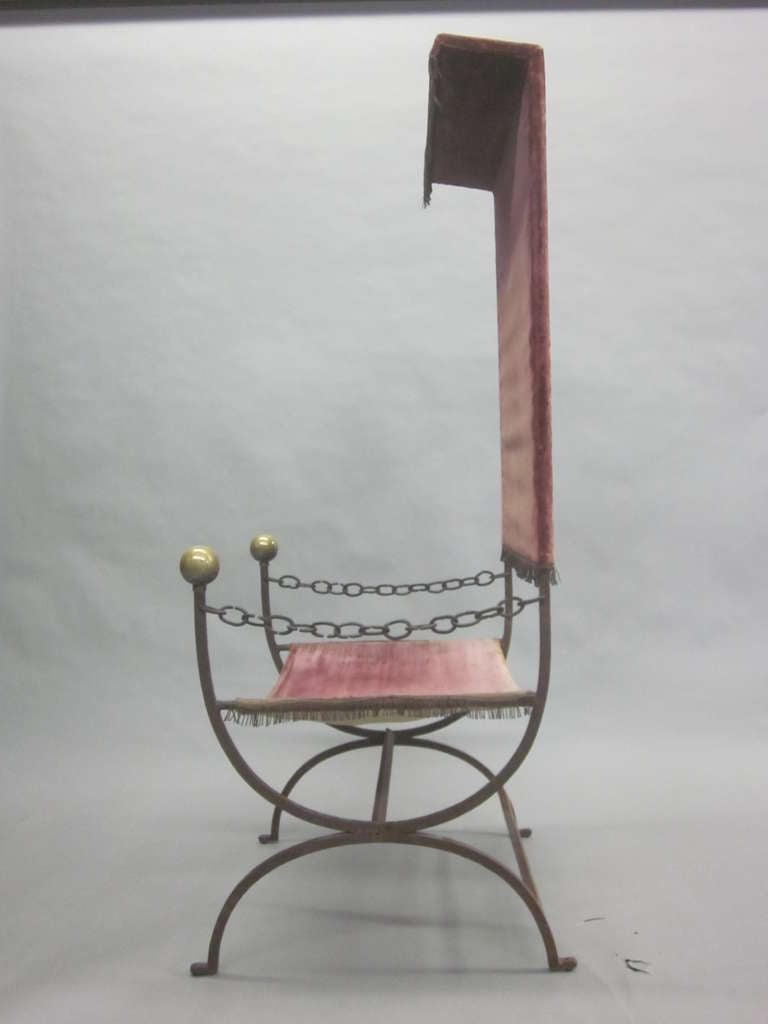 Brass French Mid-Century Modern Iron Throne/ Lounge Chair, Style of Jean Royère, 1950 For Sale