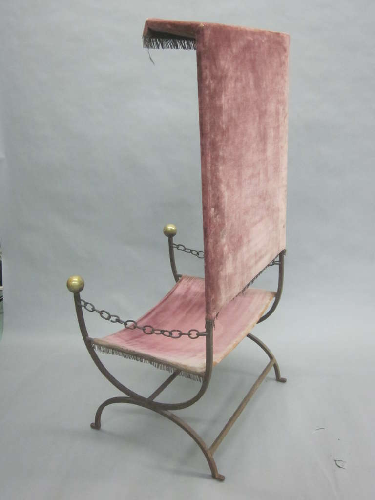 French Mid-Century Modern Iron Throne/ Lounge Chair, Style of Jean Royère, 1950 For Sale 2