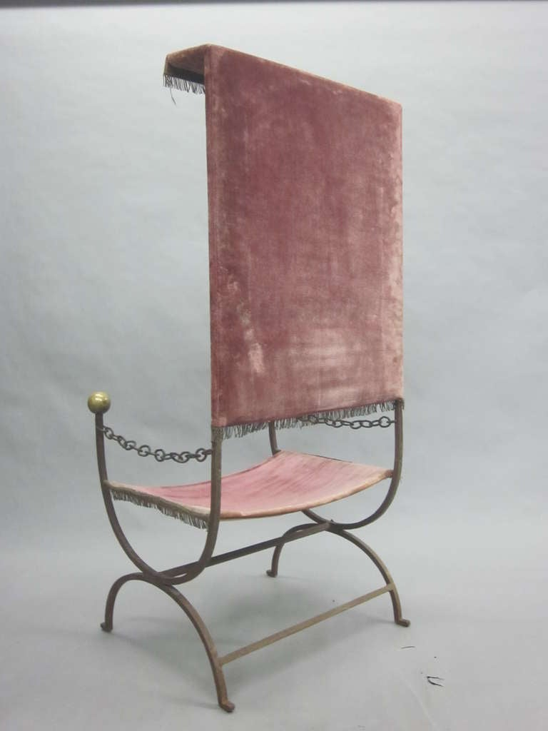 French Mid-Century Modern Iron Throne/ Lounge Chair, Style of Jean Royère, 1950 For Sale 3