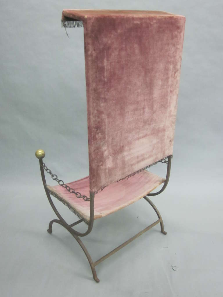 French Mid-Century Modern Iron Throne/ Lounge Chair, Style of Jean Royère, 1950 For Sale 4