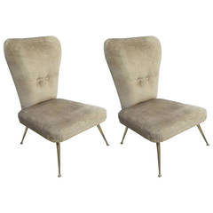 Pair of Italian Mid-Century Modern Slipper / Lounge Chairs Attr. to Marco Zanuso