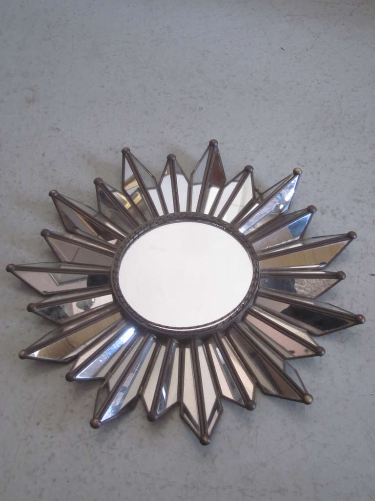 Mid-20th Century French Mid-Century Modern Neoclassical Mirrored Sunburst / Starburst Mirror For Sale