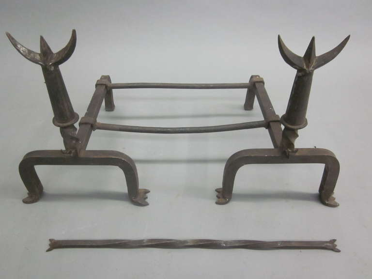 Pair French Mid-Century Wrought Iron Andirons & Fire Tool, Spirit of Giacometti For Sale 1