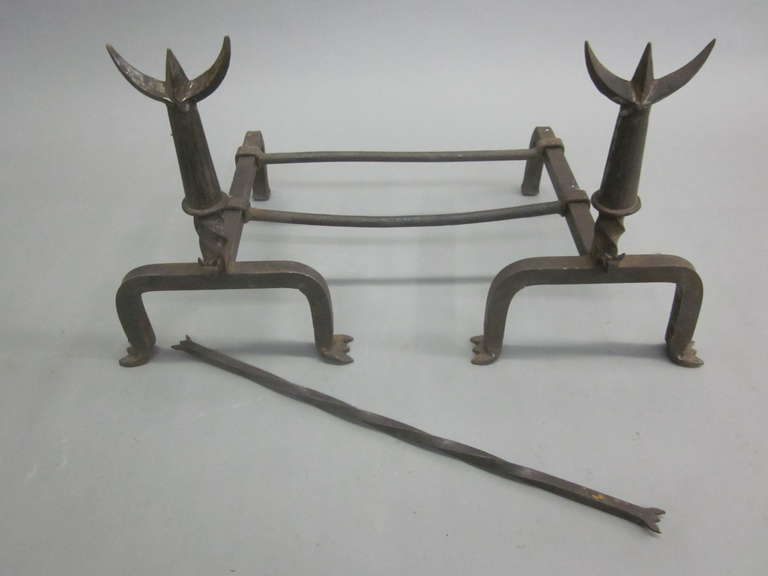 Mid-20th Century Pair French Mid-Century Wrought Iron Andirons & Fire Tool, Spirit of Giacometti For Sale