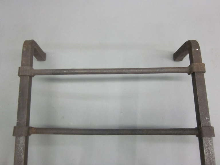 Pair French Mid-Century Wrought Iron Andirons & Fire Tool, Spirit of Giacometti For Sale 5