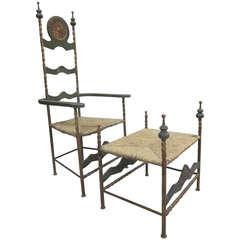 Italian Mid-Century Throne Armchair / Lounge Chair with Bench / Ottoman