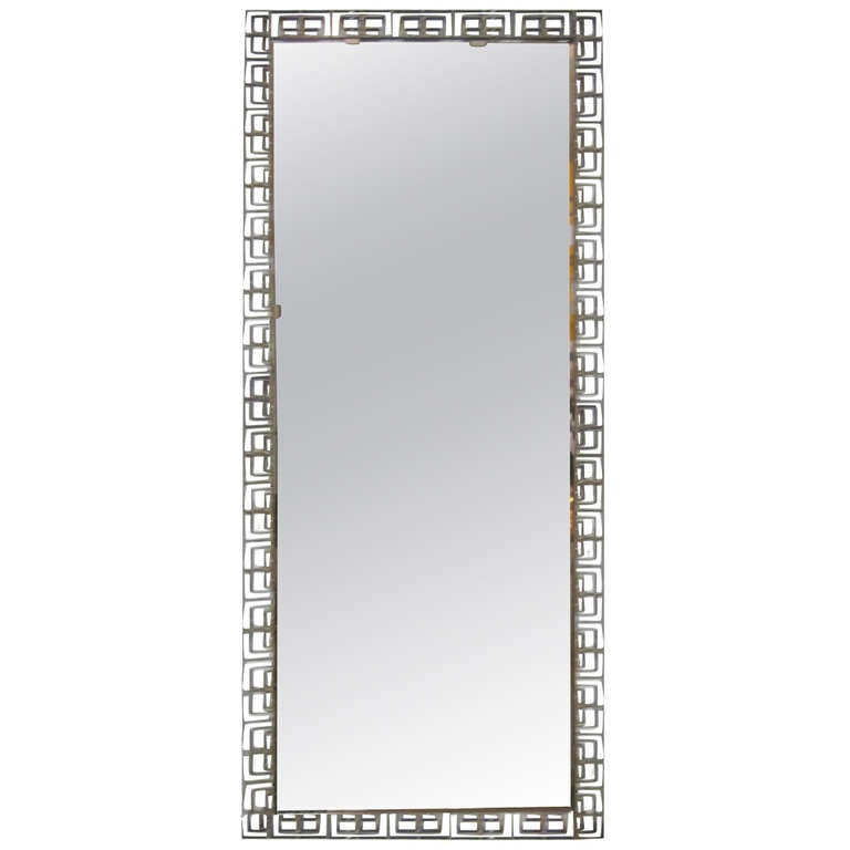 Large Italian Mid-Century Modern Neoclassical Bronze Filagree Floor/ Wall Mirror
