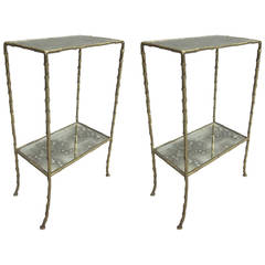 Pair French Mid-Century Brass Faux Bamboo & Mirrored Side Tables, Maison Baguès
