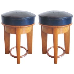 Rare Pair of French 'Thirties' Stools by Taubmann