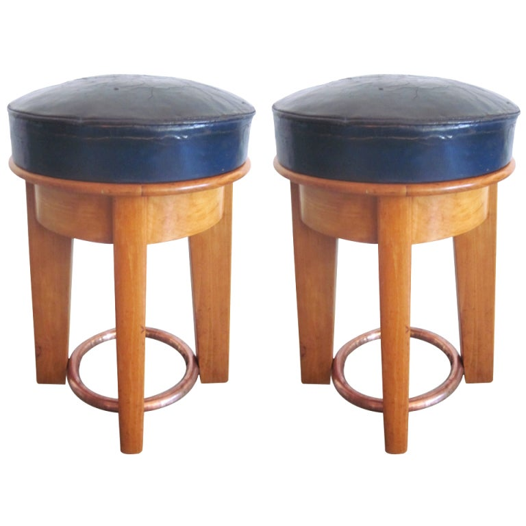 Rare Pair of French '1930s' Stools by Taubmann