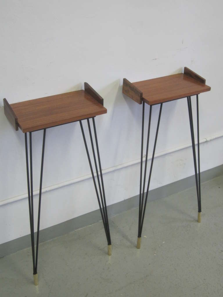 Mid-20th Century Pair of French Mid-Century Modern Consoles or Nightstands Pierre Guariche For Sale