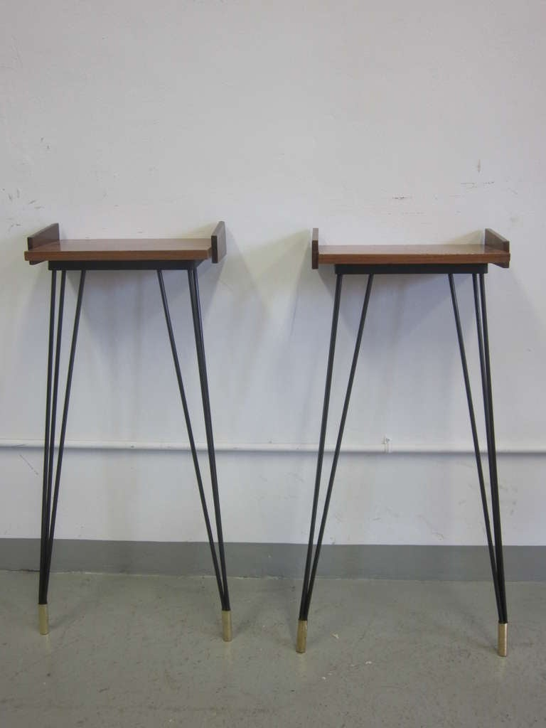 Brass Pair of French Mid-Century Modern Consoles or Nightstands Pierre Guariche For Sale