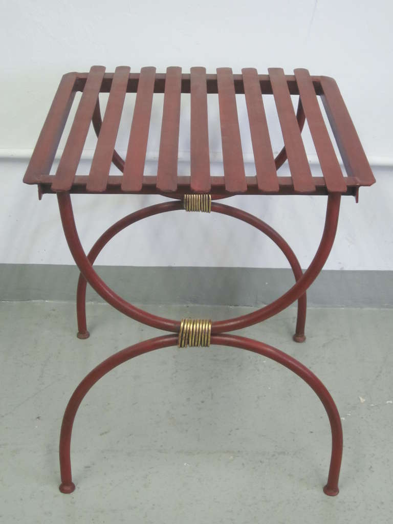Mid-Century Modern 2 Pairs French Modern Neoclassical Iron Side Tables, Luggage Racks, Benches 1940 For Sale