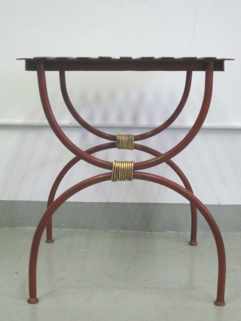 2 Pairs French Modern Neoclassical Iron Side Tables, Luggage Racks, Benches 1940 In Good Condition For Sale In New York, NY