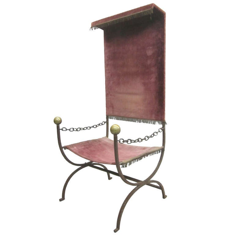 French Mid-Century Modern Iron Throne/ Lounge Chair, Style of Jean Royère, 1950 For Sale