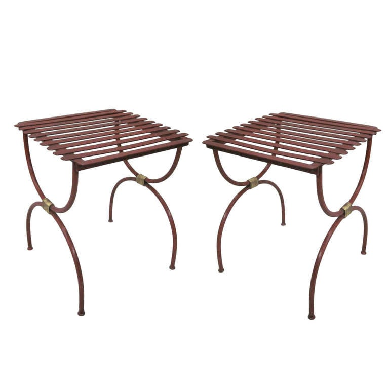 2 Pairs French Modern Neoclassical Iron Side Tables, Luggage Racks, Benches 1940 For Sale