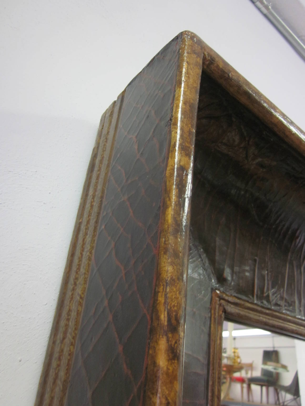 Large dramatic italian hand painted and gilt concave for Concave mirror