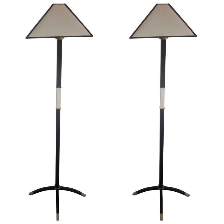 Important Pair of French, 1930s Standing Lamps by Dominique