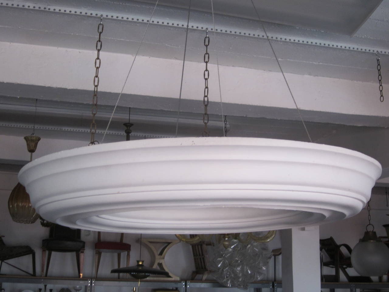 Two Large, Dramatic French Modern Neoclassical Plaster Chandeliers / Pendants For Sale 1