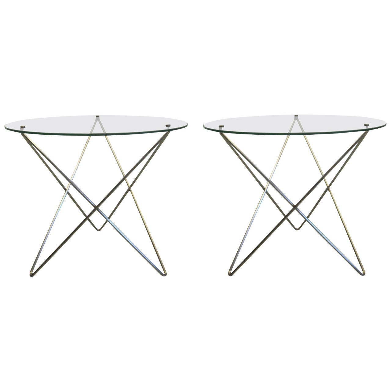 Pair French Mid-Century Modern Polished Steel & Glass Side Tables by Studio 4A