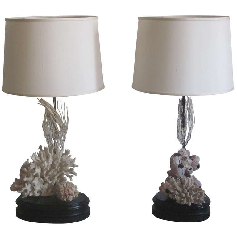 Pair of French Mid-Century Authentic Sea Coral Table Lamps, Jean-Michel Frank