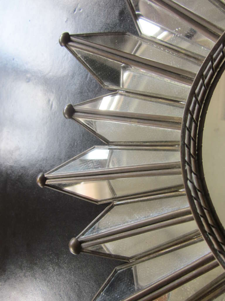 Delicate French Mirrored Sunburst Mirror 5