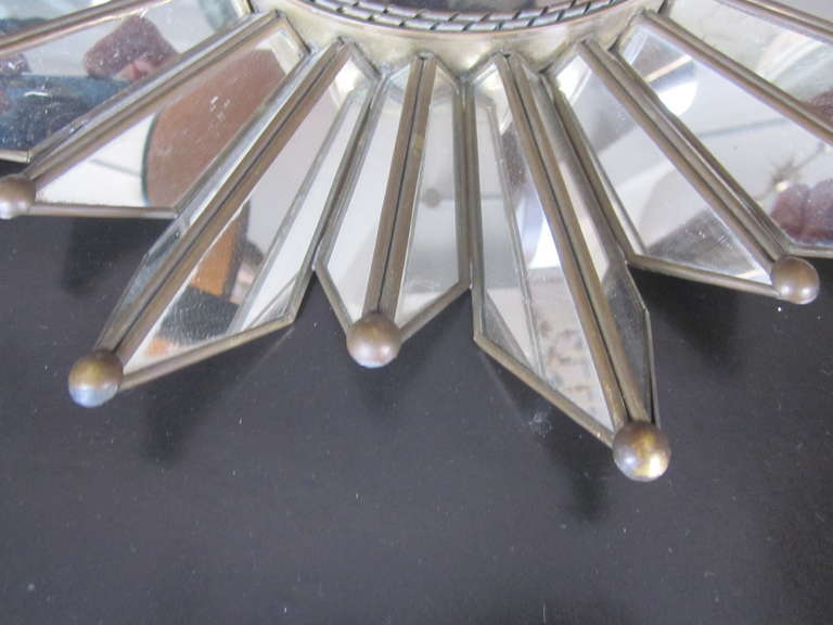 French Mid-Century Modern Neoclassical Mirrored Sunburst / Starburst Mirror For Sale 2