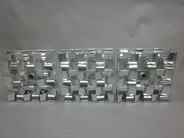 French Mid-Century 3 Panel Wall Sconce / Floor Light Sculpture by Max Sauze In Excellent Condition For Sale In New York, NY