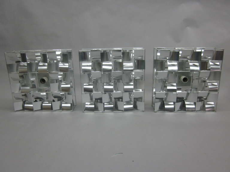 Late 20th Century French Mid-Century 3 Panel Wall Sconce / Floor Light Sculpture by Max Sauze For Sale